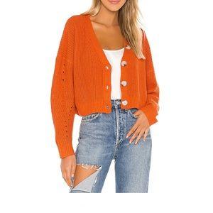Line & Dot Cropped Scarlett Cardigan in Orange